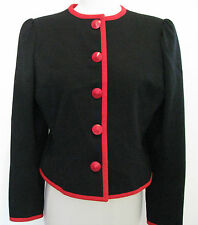 YVES SAINT LAURENT RIVE GAUCHE Black Wool Jacket With Red Buttons Design Size 44