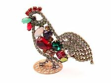 Czech glass rhinestone cockerel cock Christmas Easter ornament decoration
