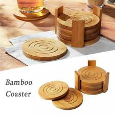 6 Pack Bamboo Wooden Coaster Cup Mat Placemat with Holder Round Cup Coasters Tan
