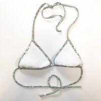 Victorias Secret Womens S String Bikini Top Triangle Halter White Sequin Floral