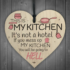 Shabby Chic This Is My Kitchen Hanging Wooden Heart Funny Plaque Retro Sign Gift