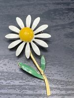 "Vintage Brooch Pin  Enamel 1970's White  Small Flower Daisy 2.5"" Tall"
