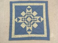 """Vintage wall quilt blue floral patchwork Size 28"""" square handmade pieced"""