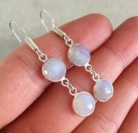 NATURAL ROUND RAINBOW MOONSTONE 925 STERLING SILVER DANGLE HOOK EARRINGS 1.65""