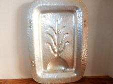 """Meat Serving Tray Vtg 1950s Continental Hammered Aluminum Footed 15"""" Rectangle"""