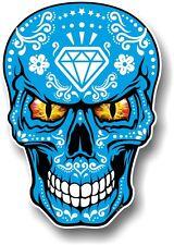 GRANDE Messicano Sugar Skull realistico Bianco su Blu & Evil Eyes Auto Adesivo Decalcomania