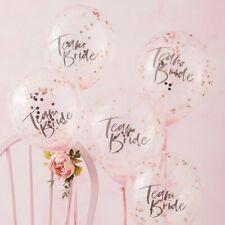 "Team Bride 12"" Rose Gold Confetti Balloons Hen Bachelorette Party Decoration x 5"