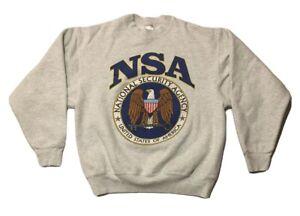 Vintage 90s Military Government Sweatshirt Mens Size Medium US Army NSA Navy