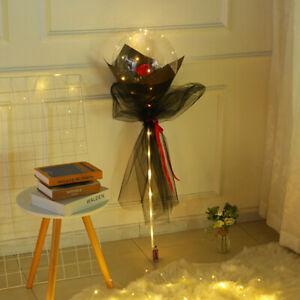20'' Luminous Transparent Bobo With Rose Balloons Wedding Birthday Party Decor