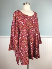 Size 32/34 W Ulla Popken Red Micro Floral Top Blouse Shirt Women's Plus 5X 6X