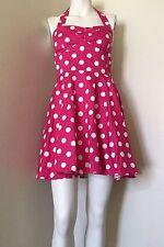 IXIA Pin-up Style Rockabilly Pink & White Polka Dot A-line Dress Women Medium