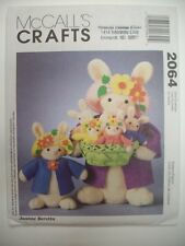"Holiday EAster rabbit bunny family  decor dolls 20"" and 11""  pattern 2064"