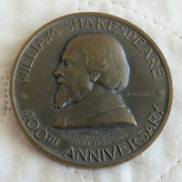 WILLIAM SHAKESPEARE 1964 400th ANNIVERSARY 57mm BRONZE MEDAL -by p vincze