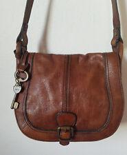 Fossil* Vintage Reissue* Brown Leather Saddle/Flap Handbag* ZB3008*