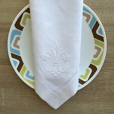 22 Inch Fleur De Lis Hemstitch White Linen Cloth  Dinner Napkin Set Of 4
