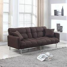 Modern Plush Tufted Linen Fabric Splitback Living Room Sleeper Futon Brown