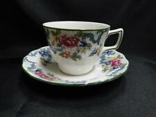 "Royal Doulton Floradora Green, Florals, Green Trim: Cup & Saucer Set (s), 2 5/8"""