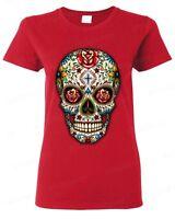 Sugar Skull Red Roses Women's T-Shirt Day of the Dead Dia De Los Muertos Shirts