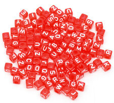 (12) 250 Kunststoff Perlen 6 x 6 mm Würfel Buchstaben ABC rot basteln Kette
