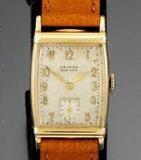 Croton 17 Jewel Yellow Gold Filled Rectangular Watch CA1950s