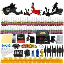 3 Rotary Tattoo Machine Kit 54 Inks Set  Shader Liner Power Supply TK355