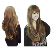 Fashion Women Long Brown Curly Wavy Wigs Side Fringe Hair Style Full Wig New