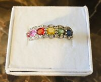 Colors of Sapphire Rainbow Ring Size7
