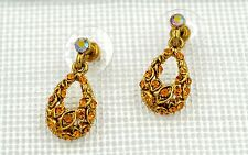 Swarovski Elements Crystal New Gold Topaz Oval Drop Stud Pierced Earrings Gift