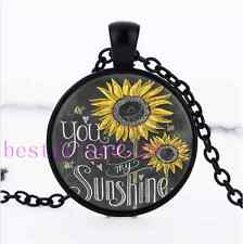 Sunflower You Are My Sunshine Glass Black Chain Pendant Necklace
