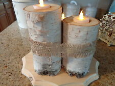 Birch Log Candle Holder Centerpiece (3 logs;LED Tea Lights;wooden base)