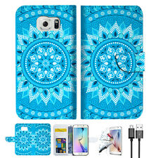 BLUE AZTEC TRIBAL Wallet Case Cover For Samsung Galaxy S7  -- A001