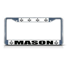 MASONIC MASON MOSON LOGO  Chrome Heavy Duty Metal License Plate Frame
