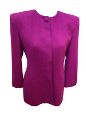 Vintage Jones New York Women's Fuschia Blazer Coat Jacket Shoulder pads size 4