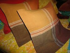 SHYAM AHUJA RUST MAROON BROWN PLAID (2) SQUARE THROW PILLOW COVERS 16 X 16