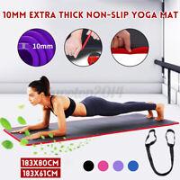 Purple 10mm Thick Yoga Mat Comfy Non-slip Exercise Mat Training Gymnastics US