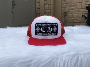 Chrome Hearts CH Hollywood Trucker Hat Red/White
