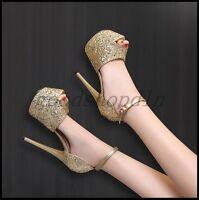 Sexy Womens Sequins Peep Toe Sandals Platform Stiletto Ankle Strap Pump Shoes SZ
