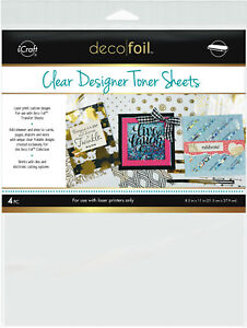 icraft Deco Foil Clear Designer Toner Sheets Laser Printable for Card Making