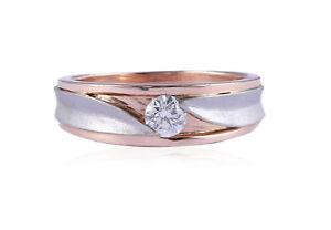 0.35 Carats F/VS1 Round Brilliant Cut Diamond Men's Solitaire Ring In 14K Gold