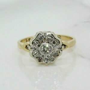 18ct Yellow Gold 0.15ct Diamond Cluster Ring (Size K, US 5 1/4