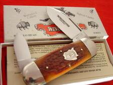 "Winchester USA 29120 4"" Buffalo Head Bone Elephant Toe Sunfish Knife mint/box ld"