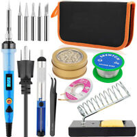 Soldering Iron Kit 80W LCD Welding Iron Tip Cleaner Solder Wick Station Wire Set