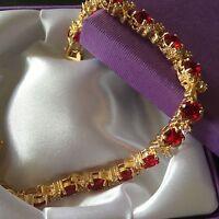 GB Red Ruby & White Sim Diamond Gems Gold Filled Bracelet GIFT BOXED Plum UK