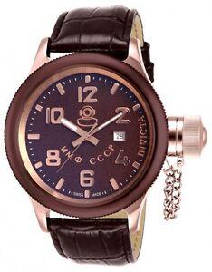 Invicta 14310 Russian Diver Swiss Made Quartz S/S.Leather Brown Strap Watch