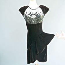VTG Climax Kren Okada Black Velvet Dress Sheer Illusion Collar Side Peplum S M