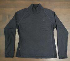 Icebreaker Sport 320 100% Merino Wool Pullover Mock Neck Sweater Thumbholes W L