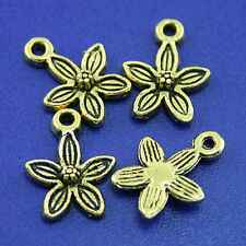 40pcs dark gold-tone plum flower charms h2116