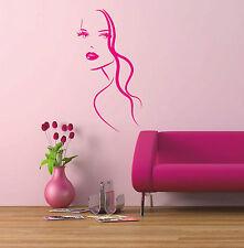 Moda Mujer Chica Face Vinilo Decal Sticker Pared Arte Hogar Salon Decoración W3