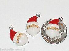 2pc Miniature TINY little crystal Christmas Santa Pendant flatback charm 11x18mm
