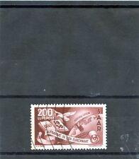 Saar Sc C12(Yt A13)Vf Used 1950 200F Brown Carmine, Airmail, $700